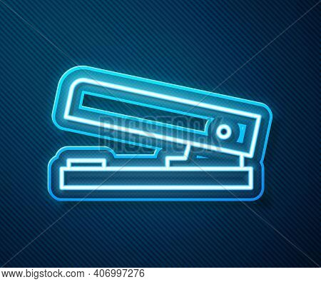 Glowing Neon Line Office Stapler Icon Isolated On Blue Background. Stapler, Staple, Paper, Cardboard