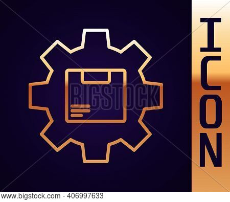 Gold Line Gear Wheel With Package Box Icon Isolated On Black Background. Box, Package, Parcel Sign.