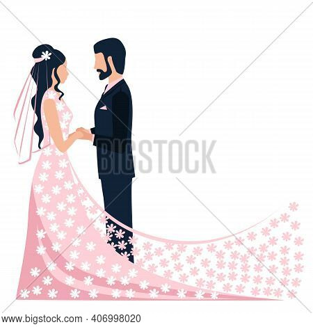 Happy Bride And Groom Get Married. Flat Vector Illustration Of Lovers Man And Woman In Wedding Cloth