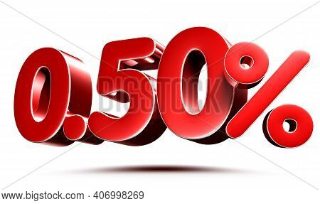0.50 Percent Red On White Background Illustration 3D Rendering With Clipping Path.