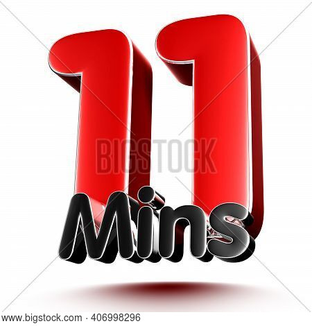 11 Mins Isolated On White Background Illustration 3D Rendering With Clipping Path.