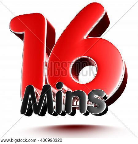16 Mins Isolated On White Background Illustration 3D Rendering With Clipping Path.