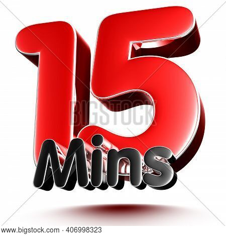 15 Mins Isolated On White Background Illustration 3D Rendering With Clipping Path.