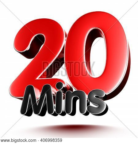 20 Mins Isolated On White Background Illustration 3D Rendering With Clipping Path.