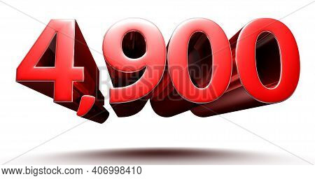 3d Illustration 4900 Red Isolated On A White Background With Clipping Path.