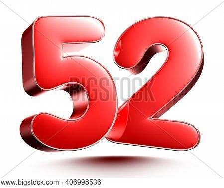 Red Numbers 52 Isolated On White Background Illustration 3D Rendering With Clipping Path.
