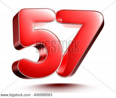 Red Numbers 57 Isolated On White Background Illustration 3d Rendering With Clipping Path.