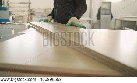Drilling Holes In Wood Panel In Furniture Manufacturing. Joinery. Woodworking And Carpentry Producti