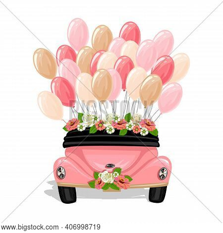 Back View Of A Wedding Car Decorated With Flowers And Balloons. Wedding Vector Template Illustration