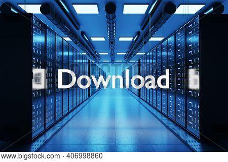 Download Logo In Large Modern Data Center Multiple Rows Of Network Internet Server Racks, 3d Illustr