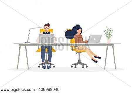 Coworking Space Illustration. Business People Teamwork. Vector Flat Design. Business People Office W