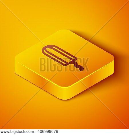 Isometric Line Menstruation And Sanitary Tampon Icon Isolated On Orange Background. Feminine Hygiene