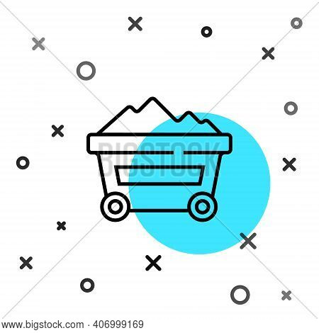 Black Line Coal Mine Trolley Icon Isolated On White Background. Factory Coal Mine Trolley. Random Dy