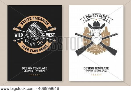 Cowboy Club Poster, Flyer. Ranch Rodeo. Vector Illustration. Concept For Shirt, Logo, Print, Stamp,