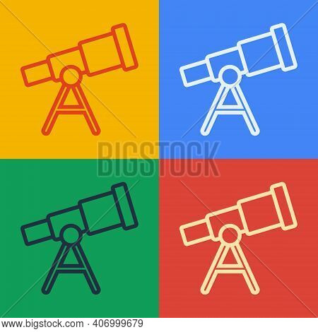 Pop Art Line Telescope Icon Isolated On Color Background. Scientific Tool. Education And Astronomy E