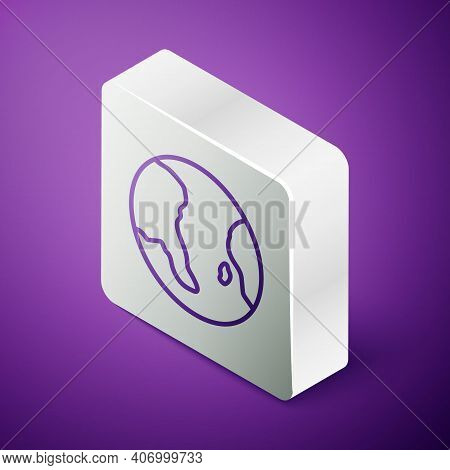 Isometric Line Earth Globe Icon Isolated On Purple Background. World Or Earth Sign. Global Internet