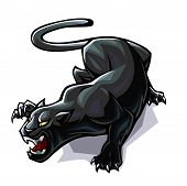 Aggressively stylized panther in the attacking pose. poster