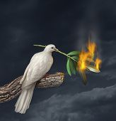 Peace crisis concept with a white dove standing on a tree holding an olive branch on fire as a symbol of the challenges of war fighting and revolution and the elusive search for a truce or agreement in the middle East or other countries in conflict. poster