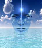 A very abstract and conceptual image of a mans face all about imagination and open mindness poster