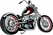 Motorcycle Clipart of a Custom or Vintage Chopper poster