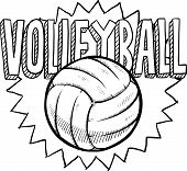 Doodle style volleyball illustration in vector format. Includes text and ball. poster