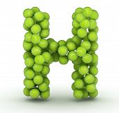 Letter H alphabet of tennis balls on white background poster