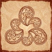 Vintage beige abstract background with doodle circle poster