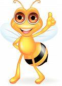 Vector illustration of Bee cartoon thumb up poster