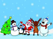 Vector illustration of Santa clause and friends waving poster