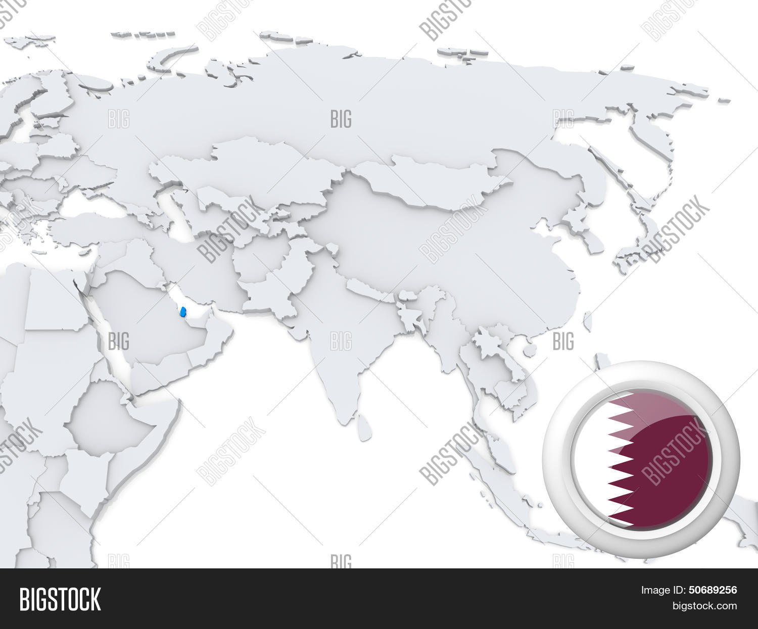 Map Of Asia Qatar.Qatar On Map Asia Image Photo Free Trial Bigstock