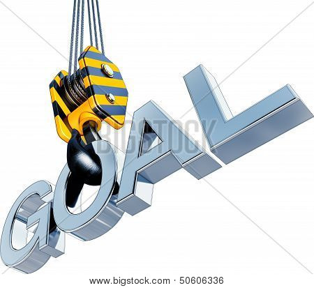 3D rendering of a crane with a goal icon poster