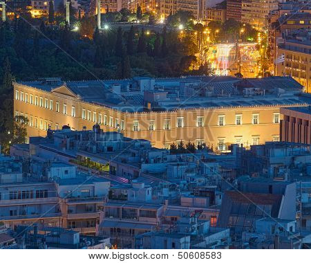 The Greek parliament at twilight Athens Greece