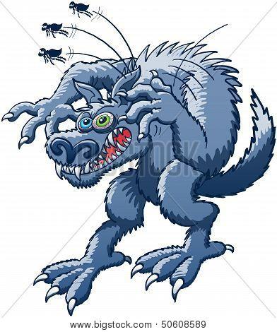 Werewolf scratching fleas