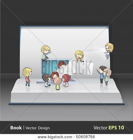 Kids Around Laptop Printed On Book. Vector Design. . Vector Design