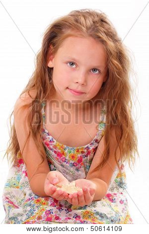 Beautiful Little Girl With Starfish