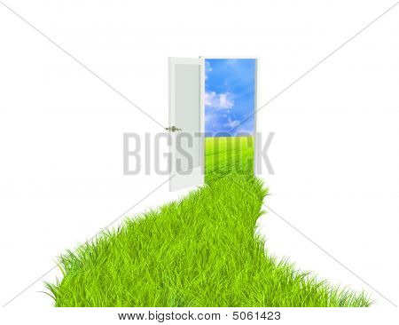 Conceptual image - road with bright green grass poster