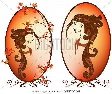 art nouveau style autumn season woman with long beautiful hair portrait poster