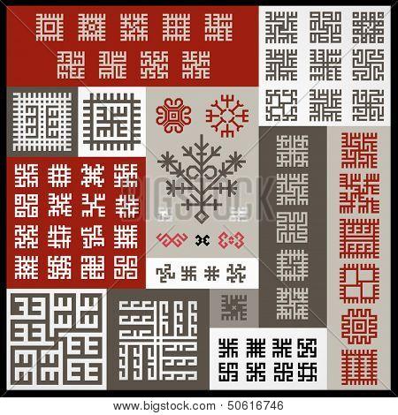 Set of ethnographic design elements
