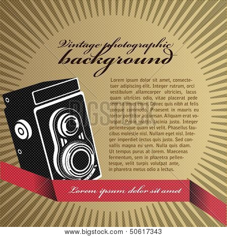 Abstract vector retro background with the old camera and place for text