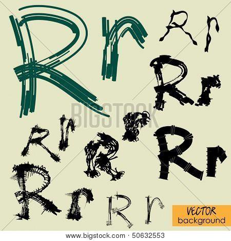 art sketch set of vector character fonts symbols, sign R
