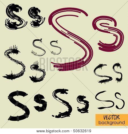 art sketch set of vector character fonts symbols, sign S