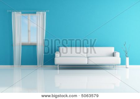 White Sofa In A Blue Room