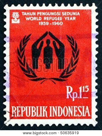 Postage Stamp Indonesia 1960 World Refugee Year Emblem