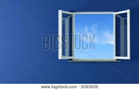 Open Windows And Blue Wall