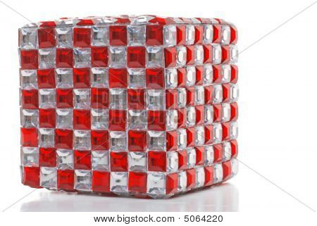 Isolated red and clear mirror cube on a white background poster