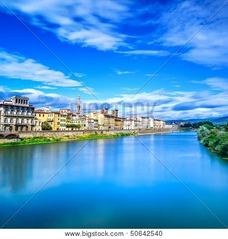 Florence or Firenze Arno river sunset landscape. Tuscany Italy. Long exposure. poster