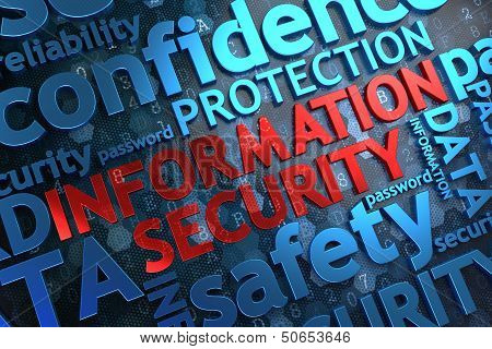 Information Security - Wordcloud Concept. The Word in Red Color, Surrounded by a Cloud of Blue Words. poster