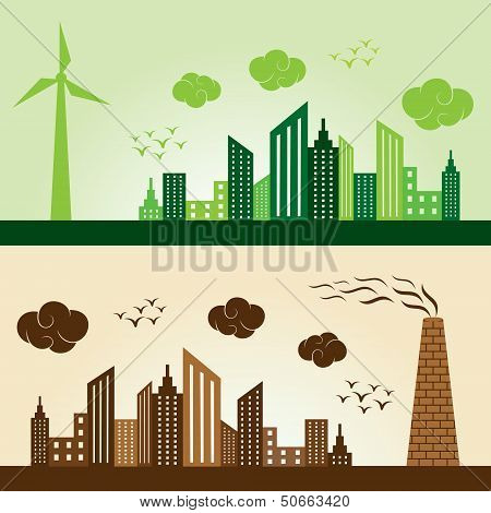Eco and Polluted city concept background