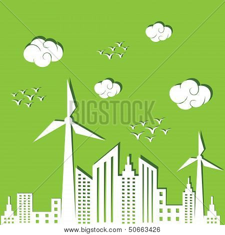 Eco city concept background stock vector