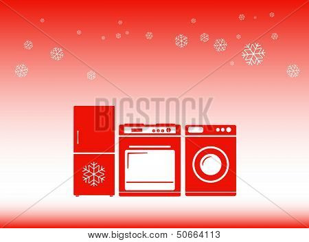 winter background - discounts on home appliances symbol